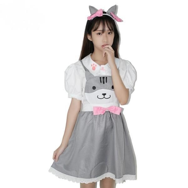 grey kitty cat suspender dress jumper romper one piece skirt paw print cut out hollow straps coveralls overalls petplay kitten play cgl ddlg playground