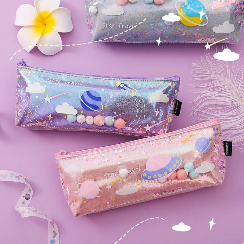 Milky Galaxy Cosmetic Bag - Pink Spaceship - accessories