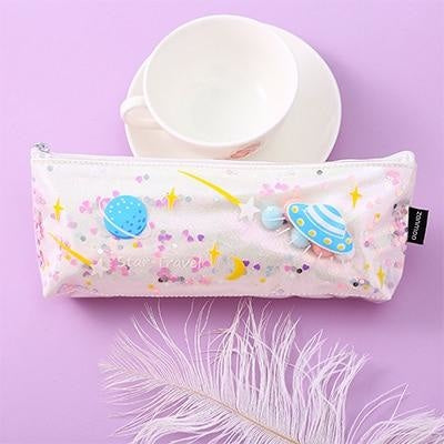 Milky Galaxy Cosmetic Bag - White Planets - accessories