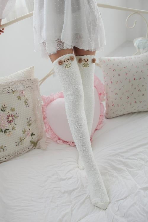 kawaii monkey goodnight fairy kei thigh high socks stockings knee socks tights furry fuzzy warm animal print striped winter wear