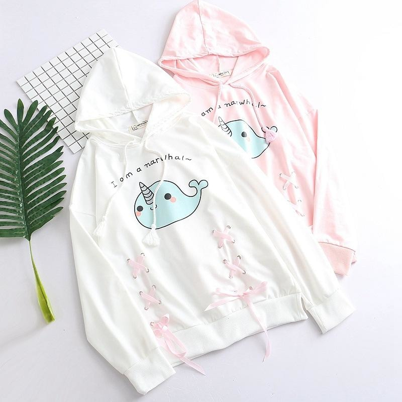 White Blue Narwhal Hoodie Sweater Sweatshirt Kawaii Fashion Fairy Kei Cute Unicorn Whale Corset Lace Up Ribbon Ties