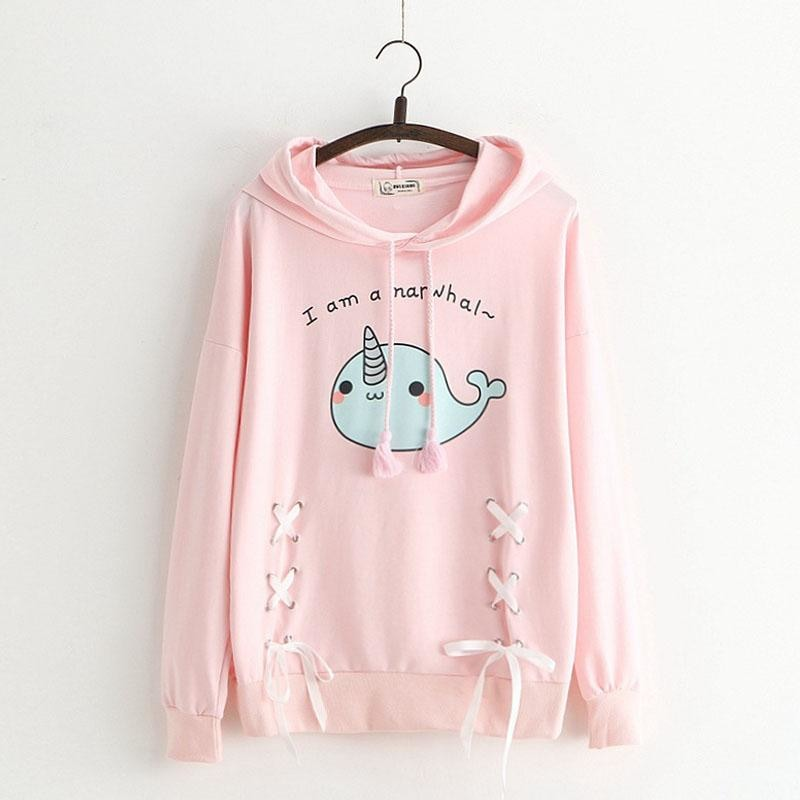 Pink Blue Narwhal Hoodie Sweater Sweatshirt Kawaii Fashion Fairy Kei Cute Unicorn Whale Corset Lace Up Ribbon Ties