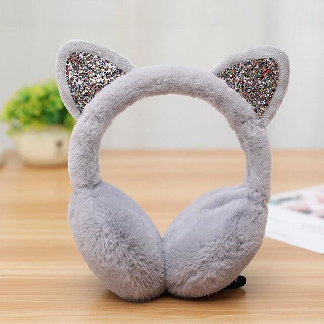 Neko Ear Muffs - Gray - ear muffs