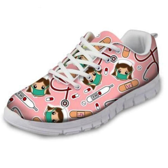 Kawaii Nurse Running Shoes Kawaii Sneakers Bandaids Syringes Needles Medicine Harajuku Fashion Menhera Kei