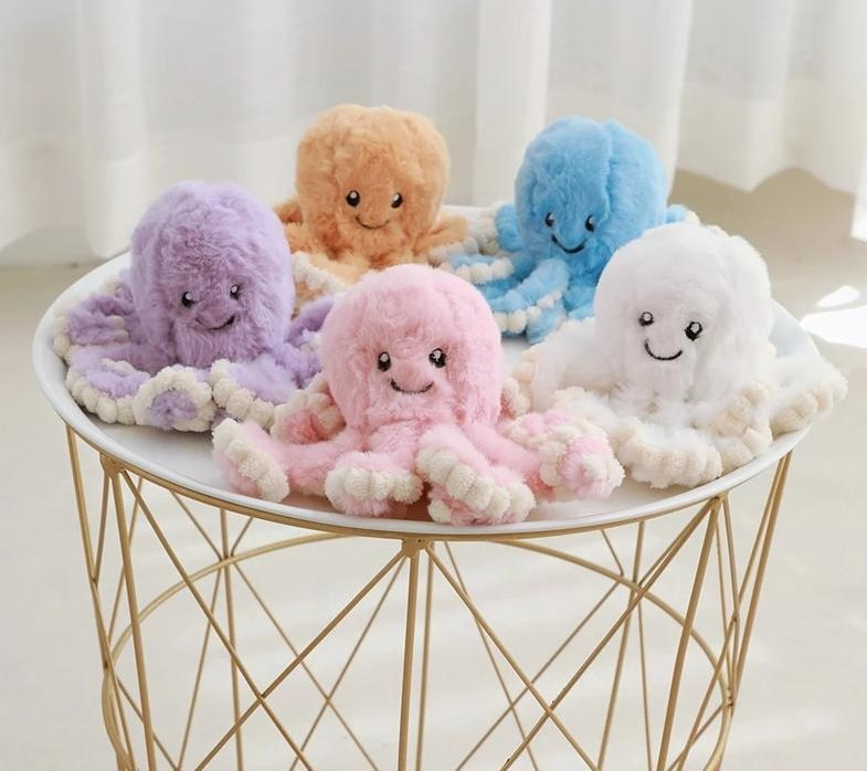 Kawaii Octopus Plush Stuffed Animal Toy Cute Fuzzy Furry Sea Animal