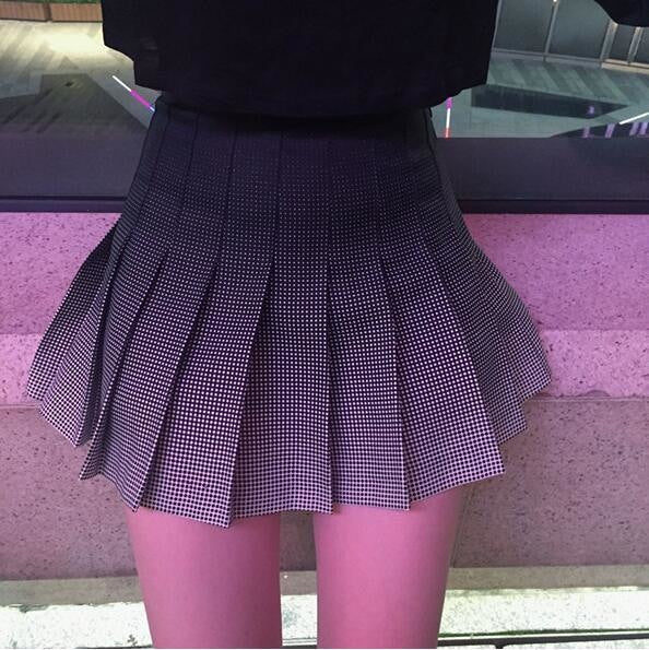 Black Grey Ombre Pleated Tennis Skirt Color Gradient Kawaii Fashion