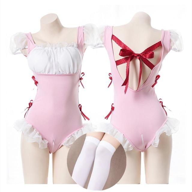 Open-Crotch Maid Onesie - bodysuit, bodysuits, costume, lingerie, maid cosplay