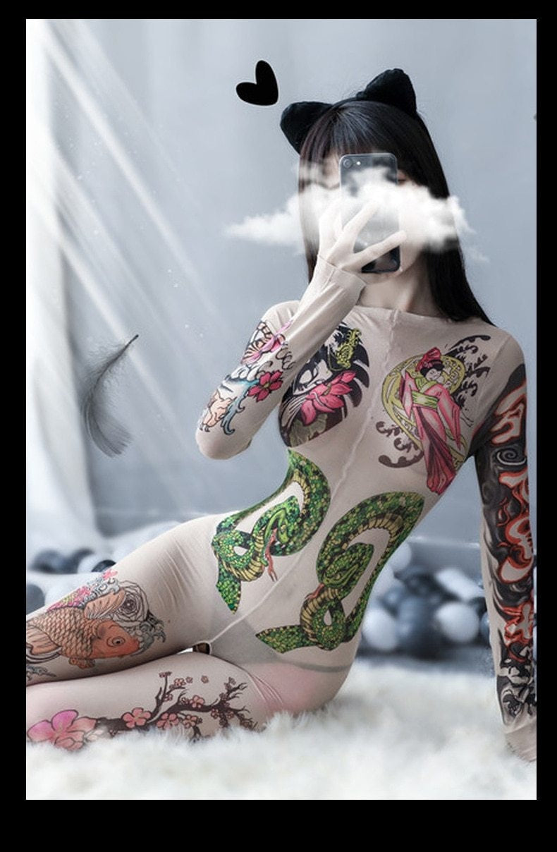 Oriental Tattoo Mesh Bodysuit - asian, bodysuit, bodysuits, cheongsam, chinese