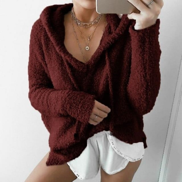 Oversized Fuzzy Hoodie - wine red / S - hoodie