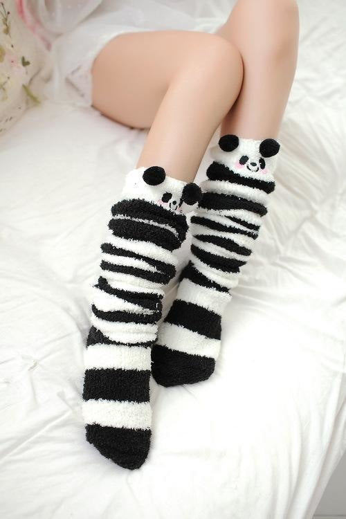 kawaii panda bear thigh high socks stockings knee socks tights furry fuzzy warm animal print striped winter wear