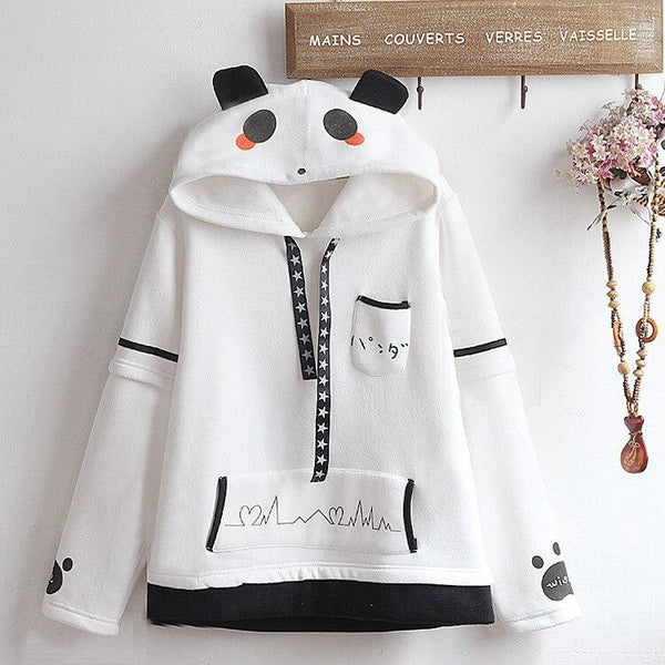 Panda Heartbeat Hoodie - One Size - sweater