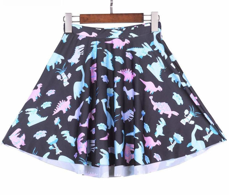 Pastel Goth Dinosaur SKirt Plus Sizes Cute T-Rex Dinos