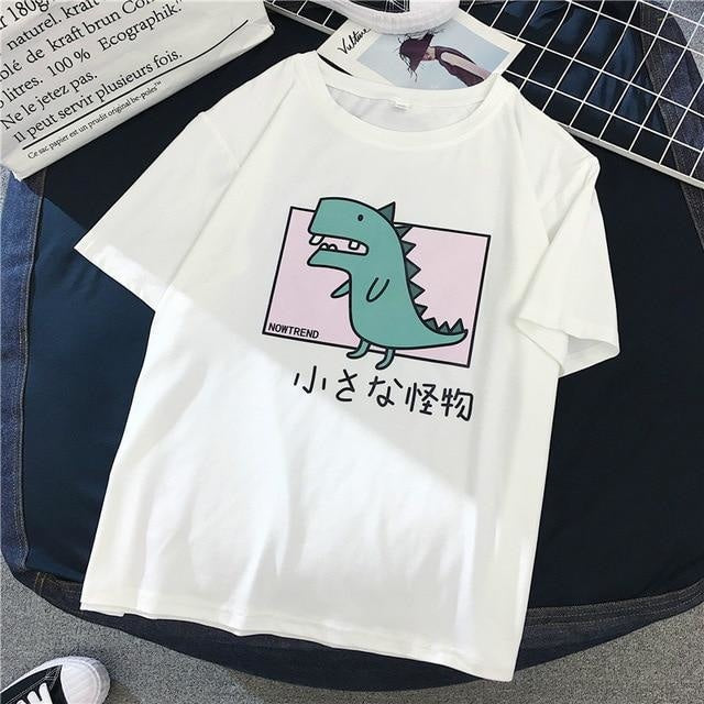 Pastel Dinosaur T-Shirt T-rex Japanese Harajuku Fashion Cute Kawaii