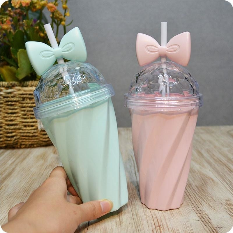 Bow Knot Water Bottle Drinking Glass Pastel Ribbon Sippy Cup With Straw ABDL Adult baby Kink  by DDLG Playground