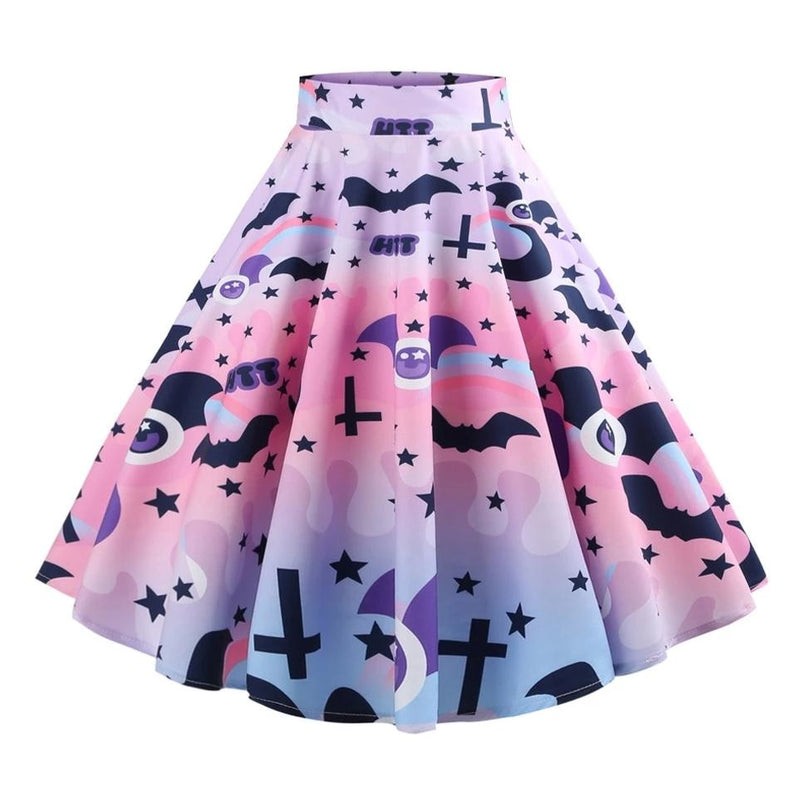 Pastel Goth Creepy Cute Lolita Skirt Tutu Spoopy Halloween Ghosts Bats Boo Kawaii Cute!
