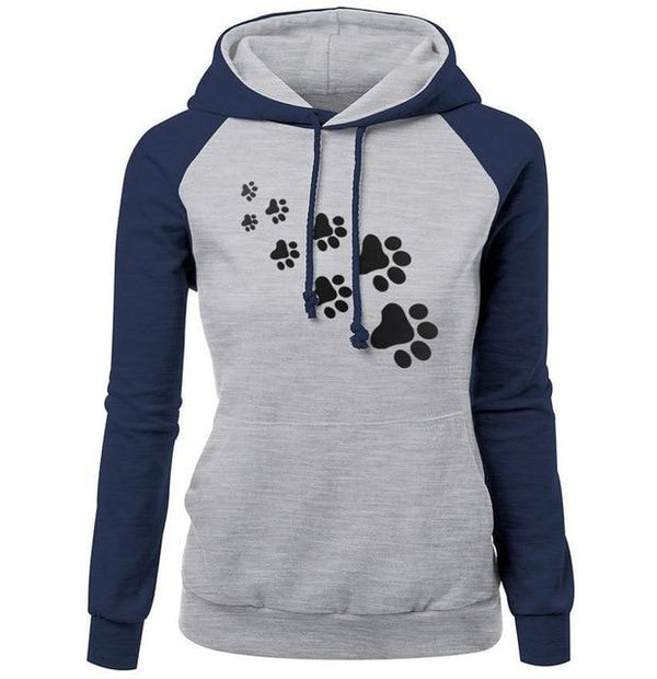 Paw Print Puppy Hoodie - dark blue gray / S - Sweater