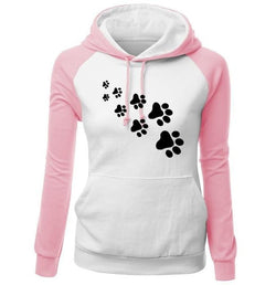 Paw Print Puppy Hoodie - pink white / S - Sweater