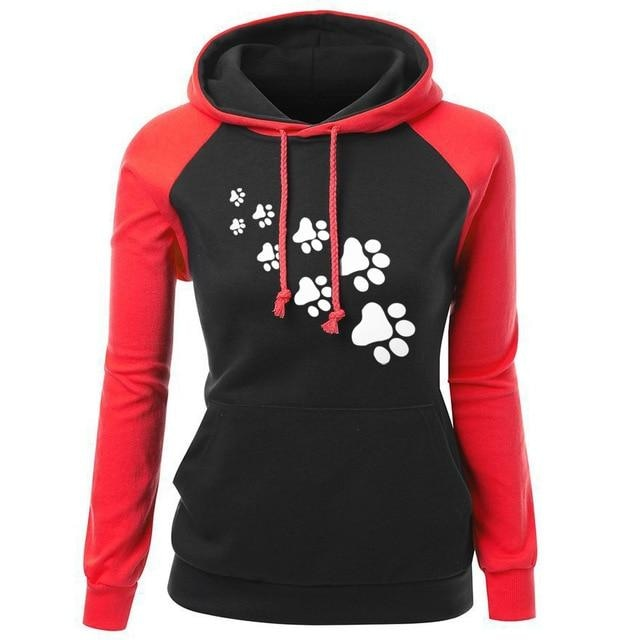 Paw Print Puppy Hoodie - red black / S - Sweater