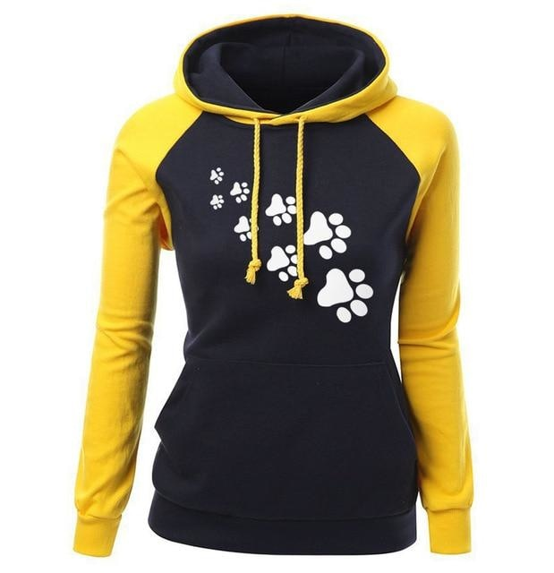 Paw Print Puppy Hoodie - yellow black / S - Sweater