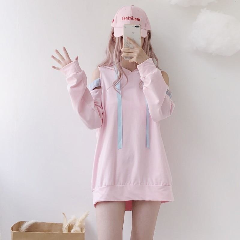 Pastel Pink Fairy Kei Long Sleeve Hoodie Off The Shoulder peekaboo Sweatshirt Harajuku Japan K-Pop Fashion