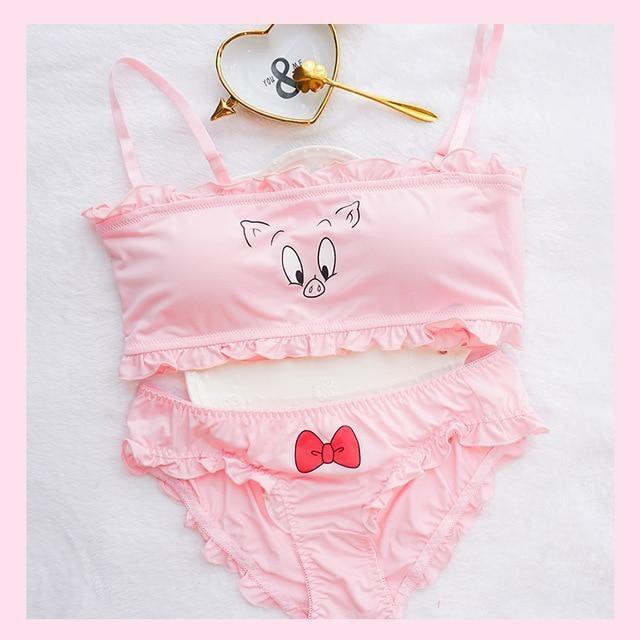 Porky Pig Lingerie Set Pink Sexy Tube Top Underwear Panties Bra Looney Tunes Bugs Bunny
