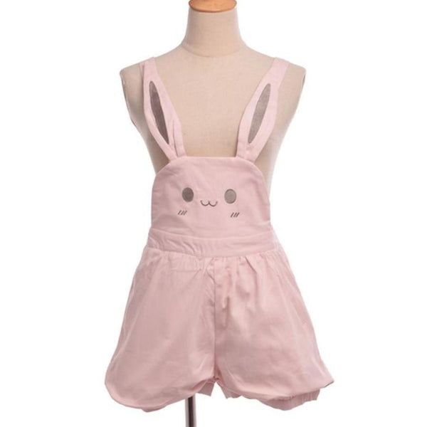 kawaii pink bunny rabbit jumper overalls suspender straps dress bloomer shorts youthful young little girl little space cgl abdl dd/lg lifestyle DDLG playground