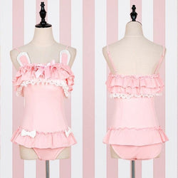 pink bunny adult onesies jumpsuit bodysuit romper bunny rabbit ears ruffled girly youthful little space girl kawaii fairy kei cgl abdl ddlg playground