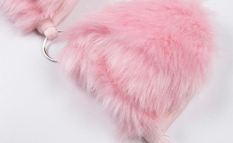 Pink Fur Harness Bra Bralette Nicki Minaj Barbie Doll Furry Soft Tie Up Laces