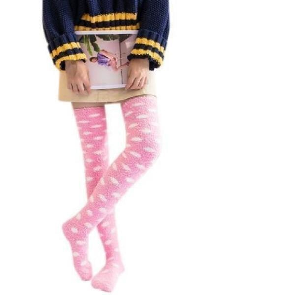 Pink Fuzzy Cloud Thigh Highs - socks