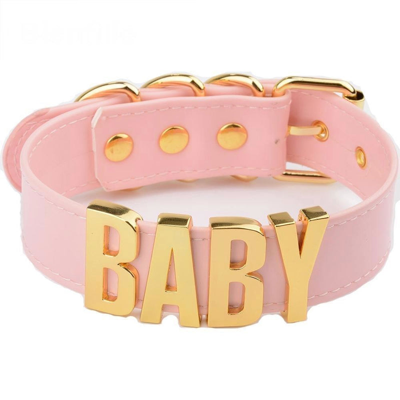 bdsm pink choker necklace baby collar gold hardware dd/lg little space girl ddlg cgl kawaii aesthetic