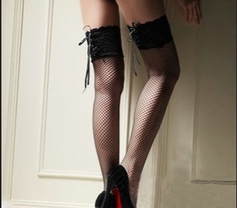 Pink Lace Fishnet Stockings - Black - tights
