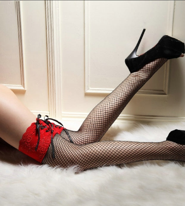 Pink Lace Fishnet Stockings - Red - tights