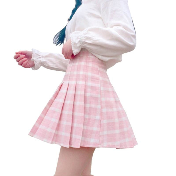 Pink Plaid School Girl Skirt - kawaii, pink plaid, pleat skirt, pleated, pleats