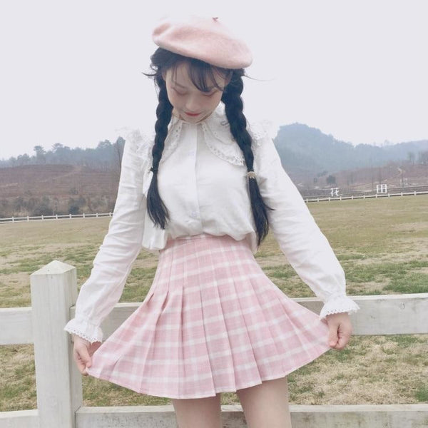 Pastel Pink Plaid School Girl Tennis Skirt