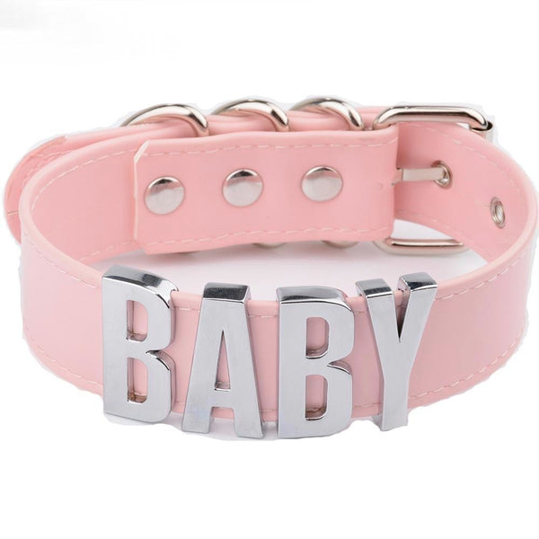 bdsm pink choker necklace  baby collar silver hardware dd/lg little space girl ddlg cgl kawaii aesthetic