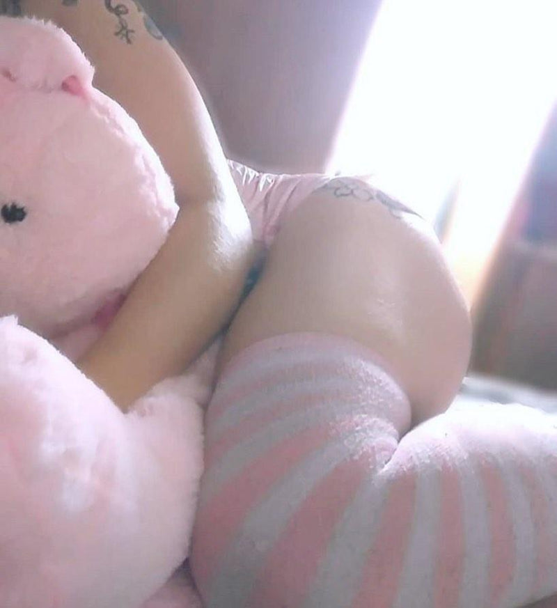 Pink Striped Thigh Highs - socks