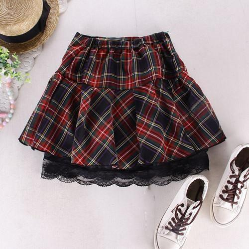 plaid school girl skirt school uniform cosplay outfit ddlg kink fetish costume layered gingham pleated lace ddlg playground