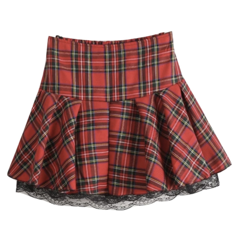 Plaid School Girl Skirt - skirt