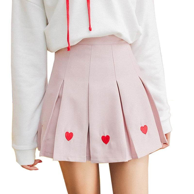 pleated heart tennus skirt harajuku kawaii fashion  ddlg