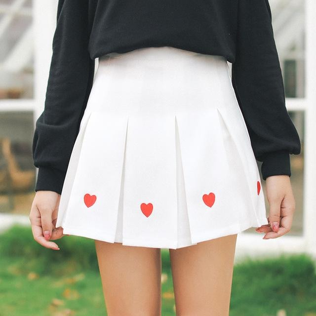 White Pleated Heart Tennis Skirt Embroidered Harajuku Kawaii Fashion