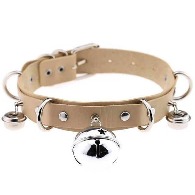 Beige Cat Collar Bell Choker Necklace Pet Play Kitten Play Kitty Neko Cosplay Costume Jewelry Vegan Leather