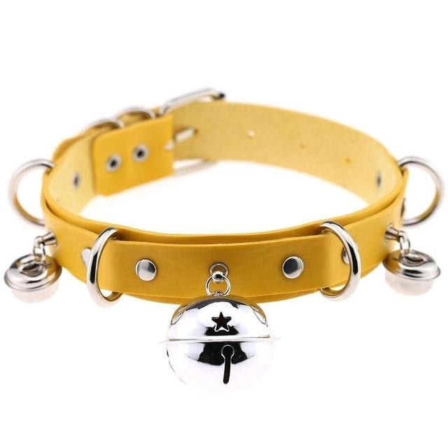 Yellow Cat Collar Bell Choker Necklace Pet Play Kitten Play Kitty Neko Cosplay Costume Jewelry Vegan Leather