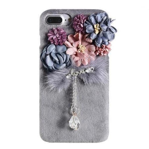 Elegant Chic Regal Plush iPhone Case Grey Flowers Roses Charm Soft Faux Fur Vegan Fuzzy iPhone Apple Phone Protector