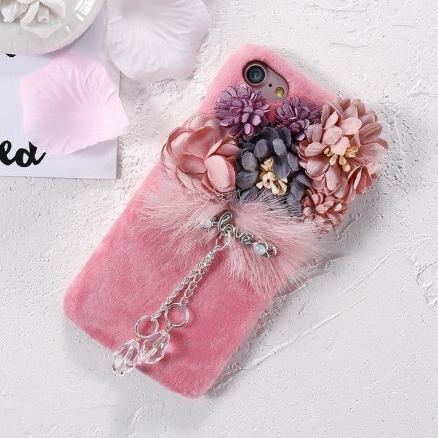 Elegant Chic Regal Plush iPhone Case Pink Flowers Roses Charm Soft Faux Fur Vegan Fuzzy iPhone Apple Phone Protector