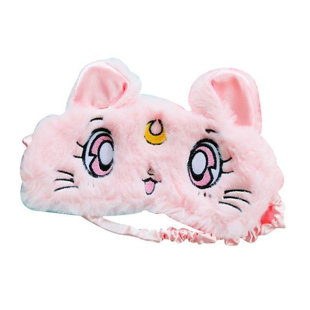 Pink Sailor Moon Kitty Cat Luna Sleep Mask Blindfold Furry Soft Fur Kitten Kawaii