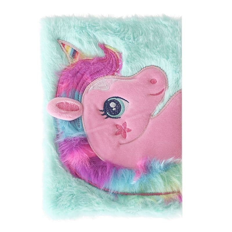Plush Unicorn Diary - Blue - journal