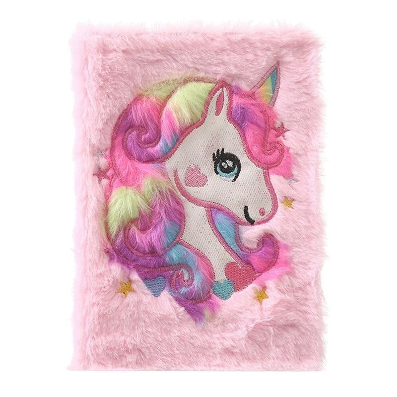 Plush Unicorn Diary - Pink - journal