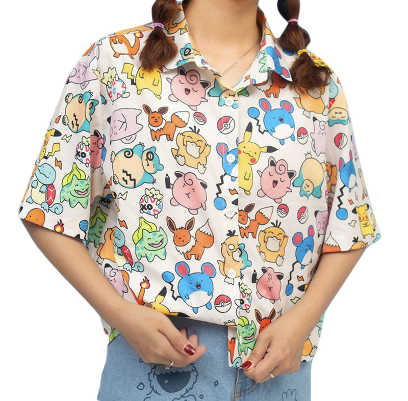 Pokemon Button Up Blouse Pocket Monsters Kawaii Cute Print