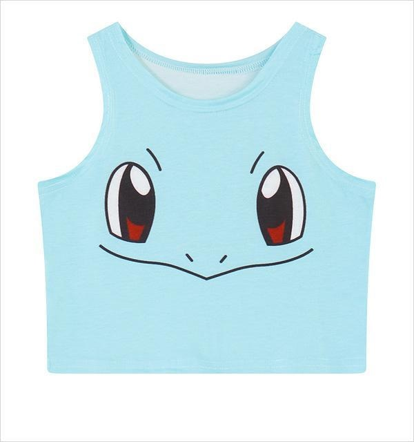 pokemon squirtle crop top cropped shirt belly top tank kawaii anime face pokeball harajuku fashion by kawaii babe