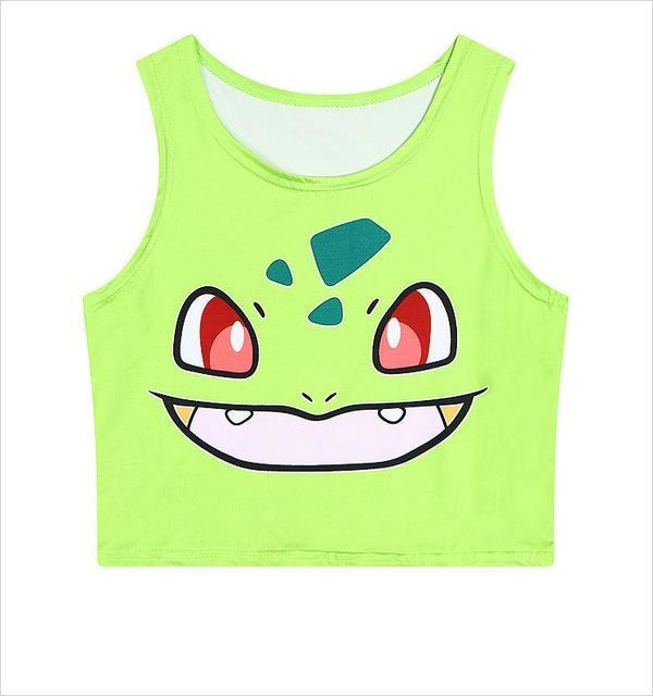 pokemon bulbasaur crop top cropped shirt belly top tank kawaii anime face pokeball harajuku fashion by kawaii babe
